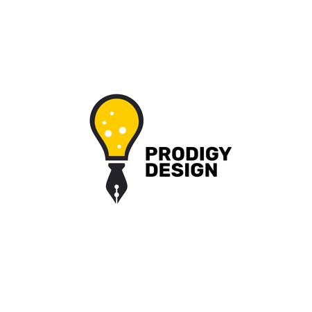 Design Studio Ad with Bulb and Pen in Yellow Logo – шаблон для дизайна
