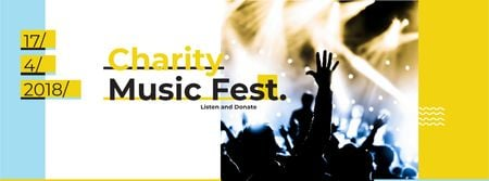 Music Fest Invitation Crowd at Concert Facebook cover Modelo de Design