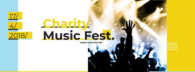 Music Fest Invitation Crowd at Concert Facebook cover Design Template
