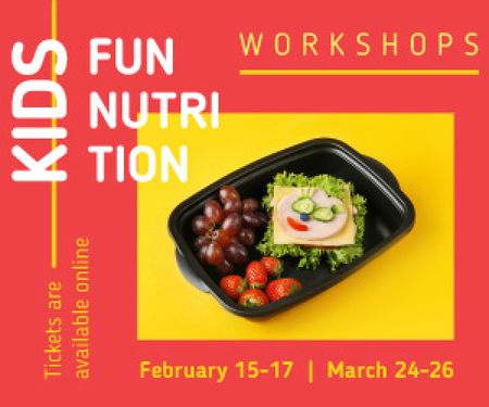 Nutrition Event Announcement Healthy School Lunch Medium Rectangle Modelo de Design