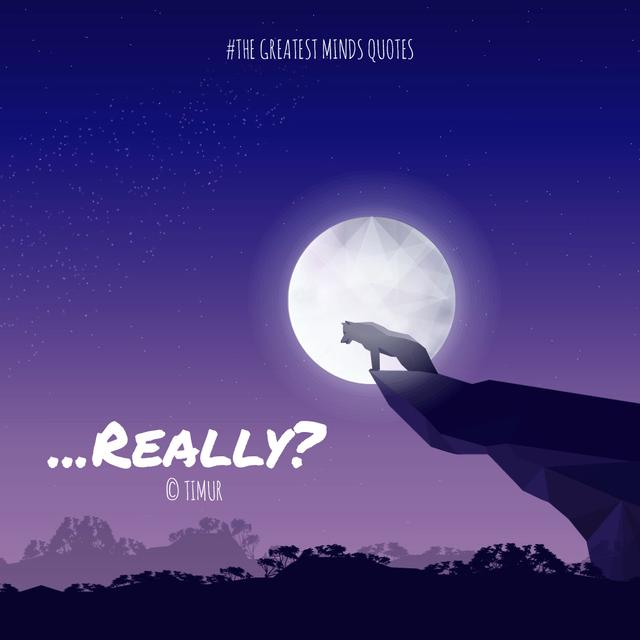Plantilla de diseño de Wolf howling to the moon Animated Post
