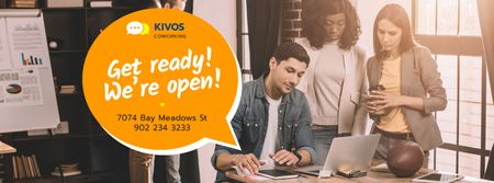 Szablon projektu Coworking Space Promotion with Successful Business Team Facebook cover