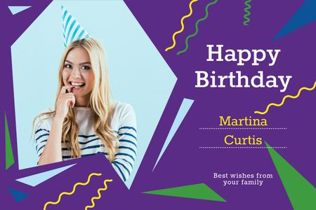 Template di design Birthday Offer with Woman in Party Hat Gift Certificate