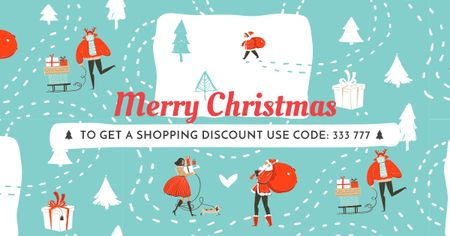 Ontwerpsjabloon van Facebook AD van Merry Christmas Holiday Sale