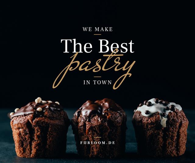 Pastry Offer with Sweet chocolate cakes Facebook Tasarım Şablonu