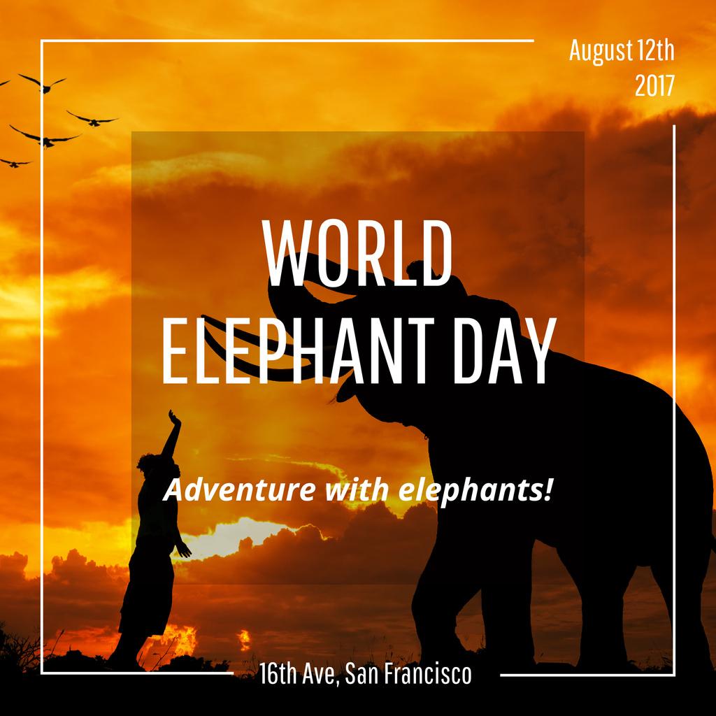 World Elephant Day greeting on sunset — Créer un visuel