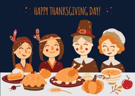 Ontwerpsjabloon van Card van Pilgrims celebrating thanksgiving