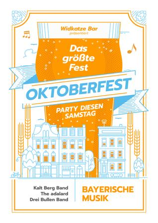Oktoberfest Party Invitation with Giant Mug in City Poster Modelo de Design