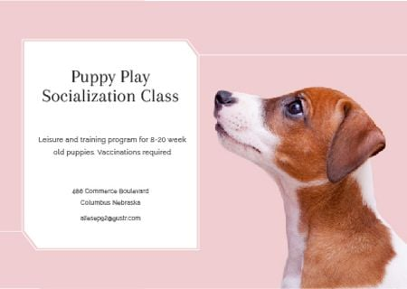 Ontwerpsjabloon van Card van Puppy play socialization class Ad