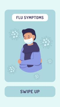 Flu symptoms with Man wearing Mask