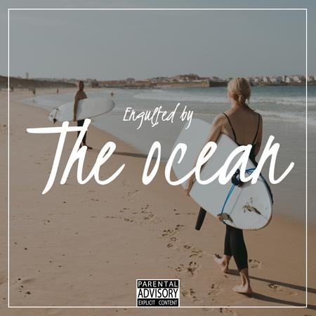 Template di design Summer Mood with Surfers at the beach Album Cover