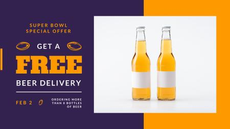 Super Bowl Offer Beer Bottles FB event cover Design Template