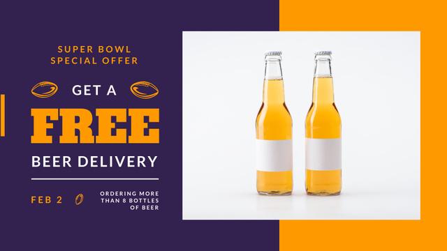 Ontwerpsjabloon van FB event cover van Super Bowl Offer Beer Bottles