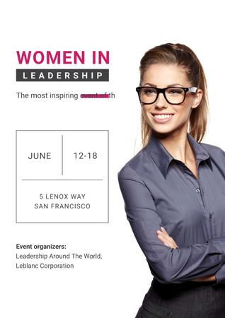 Ontwerpsjabloon van Poster van Business Event Announcement with Smiling Businesswoman