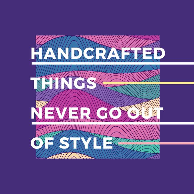 Handcrafted things Quote on Waves in purple Instagram AD – шаблон для дизайна
