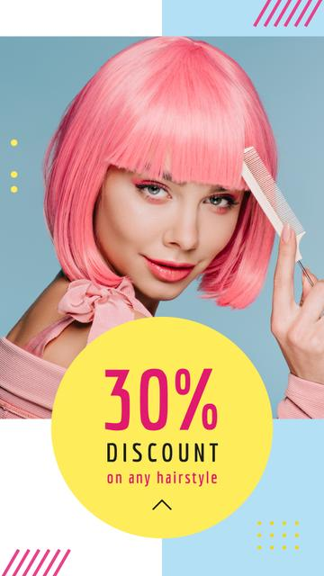 Template di design Hairstyle Discunts Ad Girl with Pink Hair Instagram Story