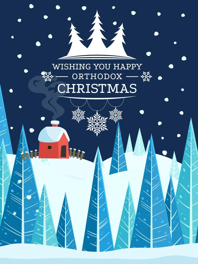 Happy Christmas card Poster US template — Design Online — Crello