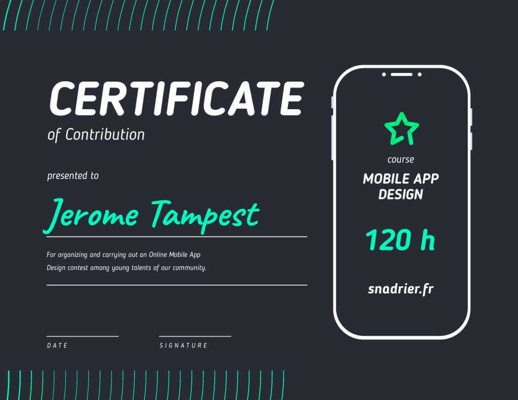 Design App Contest Contribution Appreciation Certificate Modelo de Design