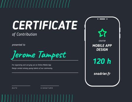 Modèle de visuel Design App Contest Contribution Appreciation - Certificate
