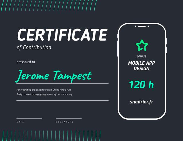 Modèle de visuel Design App Contest Contribution Appreciation - Certificate