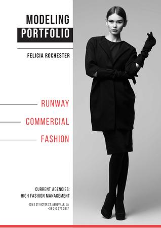 Fashion show Advertisement with Stylish Woman in black Poster Modelo de Design