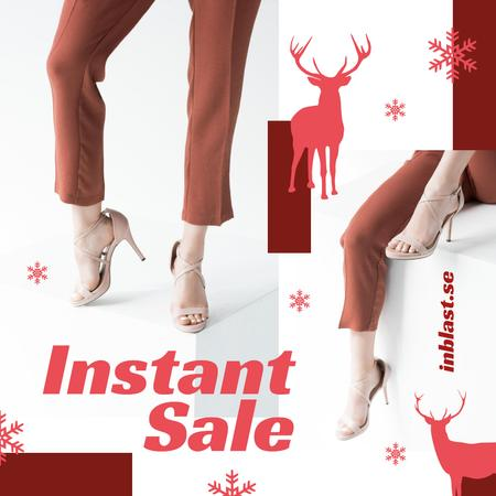 Template di design Christmas Offer Woman in Heeled Shoes Instagram