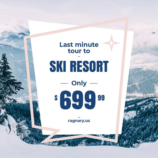 Winter Last Minute Tour Snowy Mountains View Instagram – шаблон для дизайну