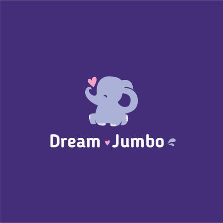 Ontwerpsjabloon van Logo van Kids' Products Ad with Funny Elephant