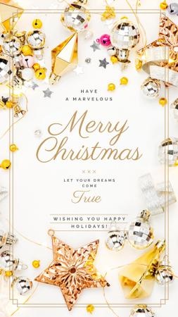 Template di design Christmas Greeting Shiny Decorations in Golden Instagram Story