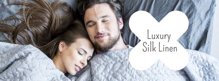 Bed Linen ad with Couple sleeping in bed Facebook cover Tasarım Şablonu