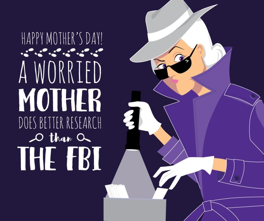 Happy Mother's Day greeting with Mom detective — Maak een ontwerp