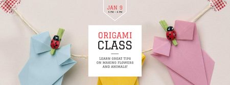 Origami class Annoucement with paper figures Facebook cover Modelo de Design