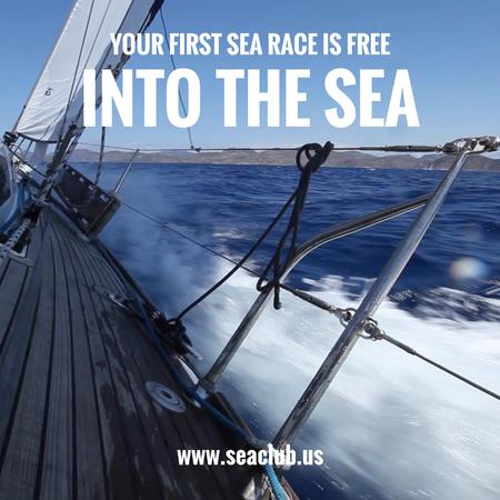 Plantilla de diseño de Yacht sailing fast on blue sea Animated Post