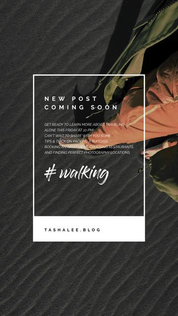 Designvorlage Walking Barefoot on Black Sand für Instagram Video Story