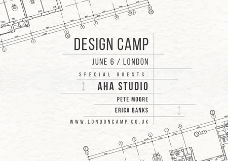 Plantilla de diseño de Design camp announcement on blueprint Postcard