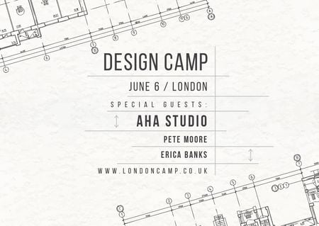 Design camp announcement on blueprint Postcard – шаблон для дизайна