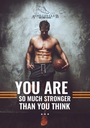 Sports Motivational Quote with Basketball Player Poster Modelo de Design