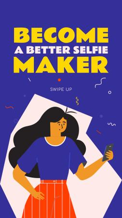 Selfie making Live Stream annoucement Instagram Story Modelo de Design