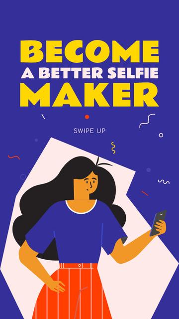 Plantilla de diseño de Selfie making Live Stream annoucement Instagram Story