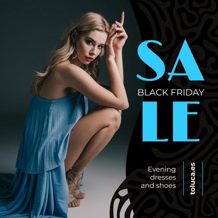 Black Friday Sale Woman in Blue Dress Instagramデザインテンプレート