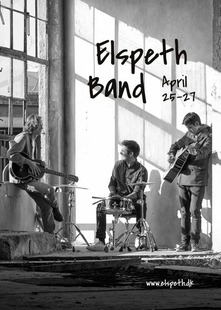 Designvorlage Concert Announcement Rock Band Rehearsing für Flayer