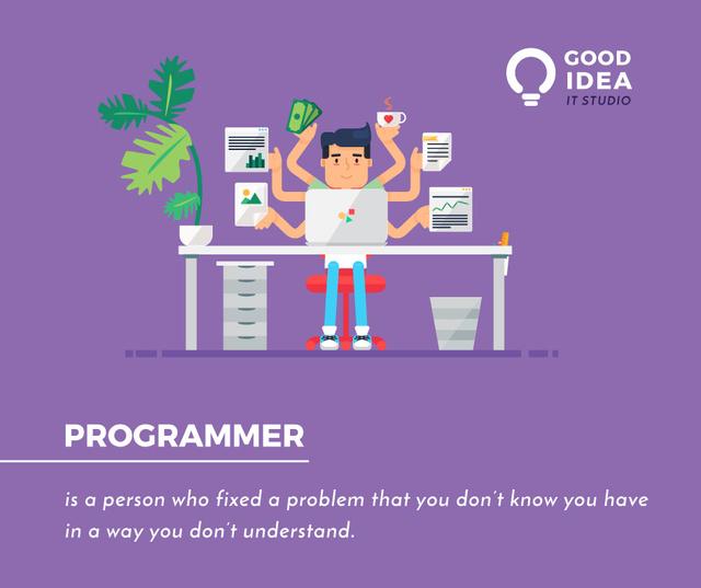 It Studio Ad Multitasking Programmer Working on Computer Facebook Tasarım Şablonu