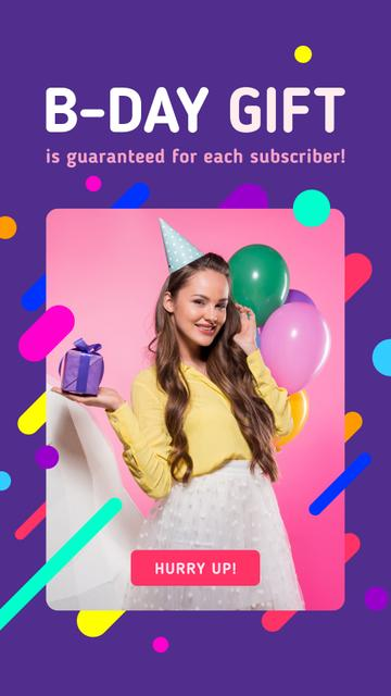 Birthday Celebration Girl with Gift and Balloons Instagram Story – шаблон для дизайна
