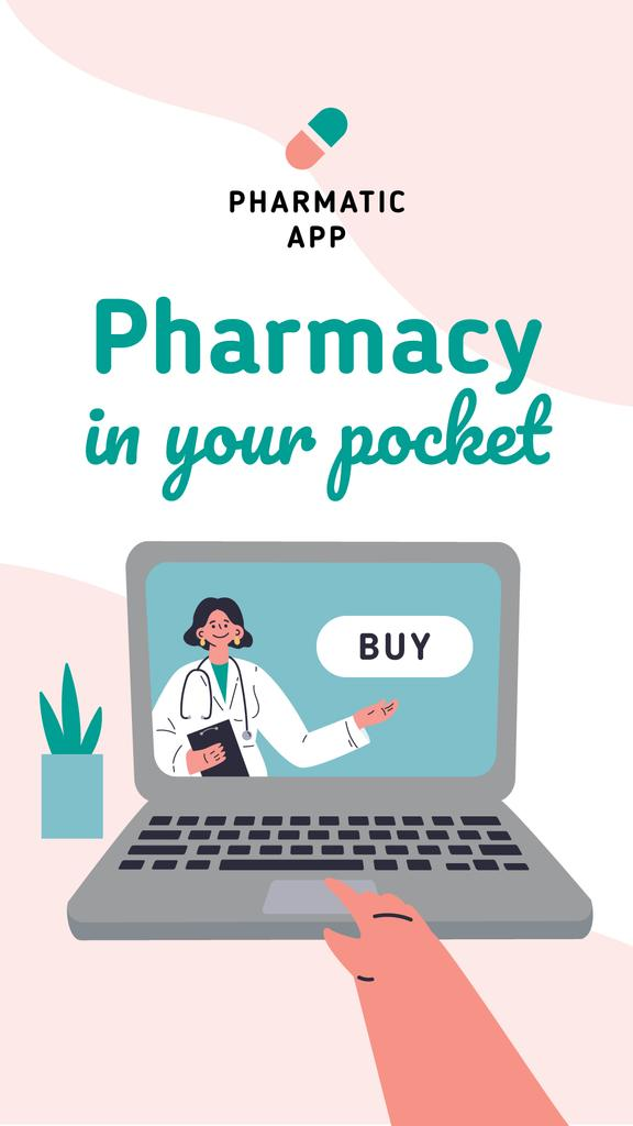 Pharmacy App overview with friendly Doctor — Modelo de projeto