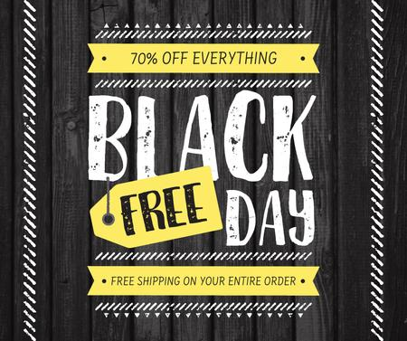 Modèle de visuel Black Friday sale on wooden background - Facebook