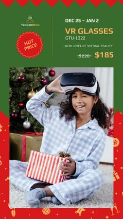 Christmas Sale Girl with Gift in VR Glasses Instagram Story Modelo de Design