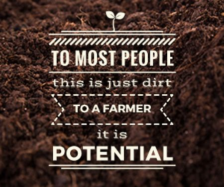Designvorlage Agricultural poster with motivational text and soil für Medium Rectangle