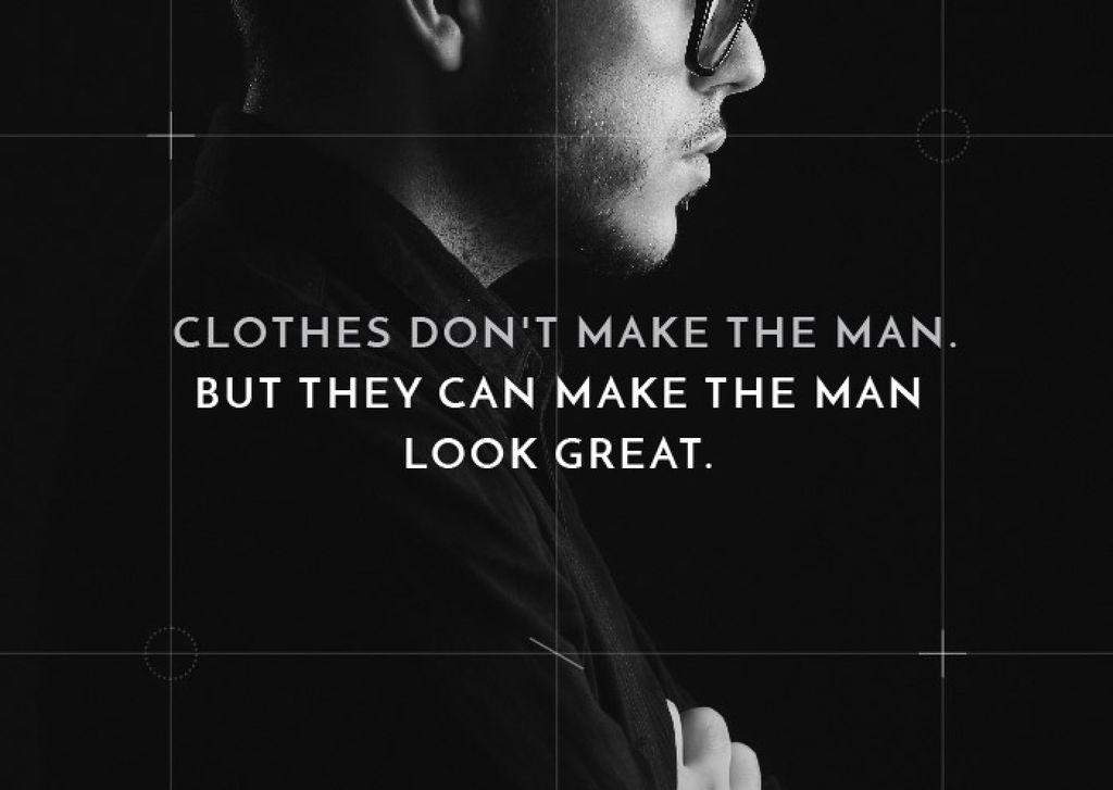 citation about a man clothes card template design online crello