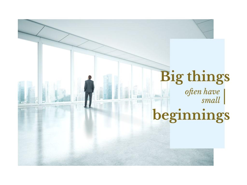 Inspiration Quote with Businessman on City Background — Modelo de projeto