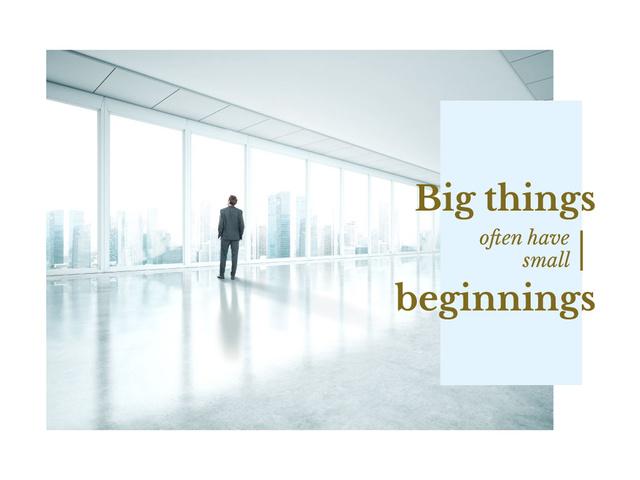 Inspiration Quote with Businessman on City Background Presentation – шаблон для дизайна